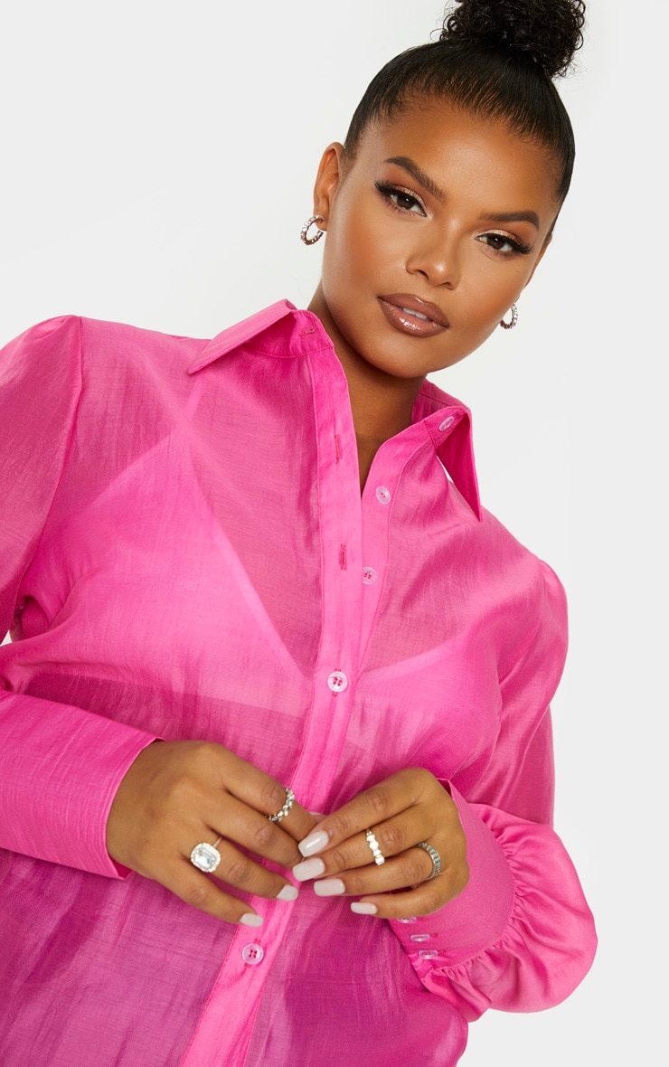 Plus Pink Sheer Woven Oversized Shirt 5