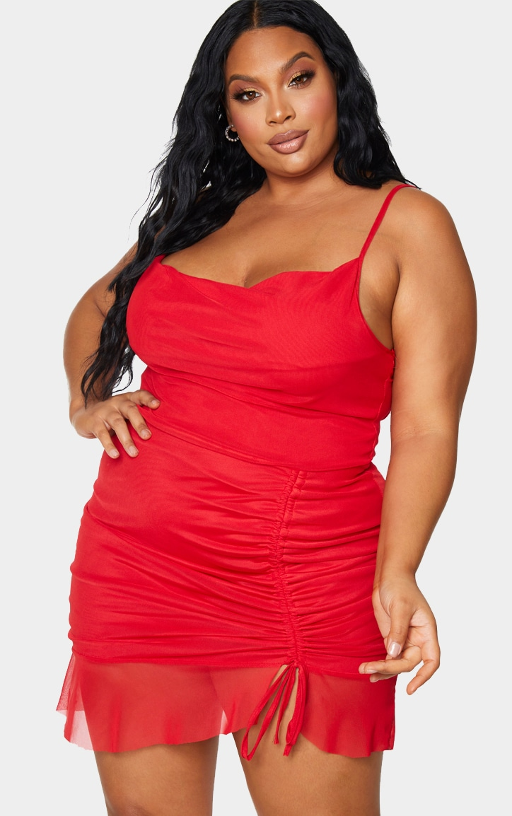 Plus Red Mesh Ruched Bodycon Dress 1