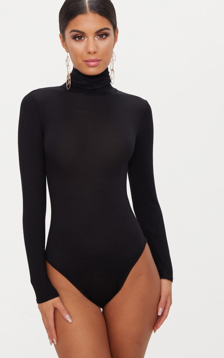 Black Roll Neck Long Sleeve Bodysuit 2