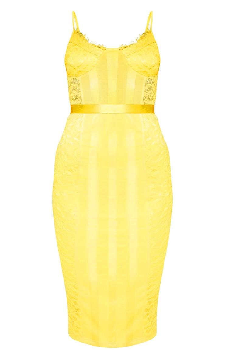 Yellow Lace Lined Midi Dress 3
