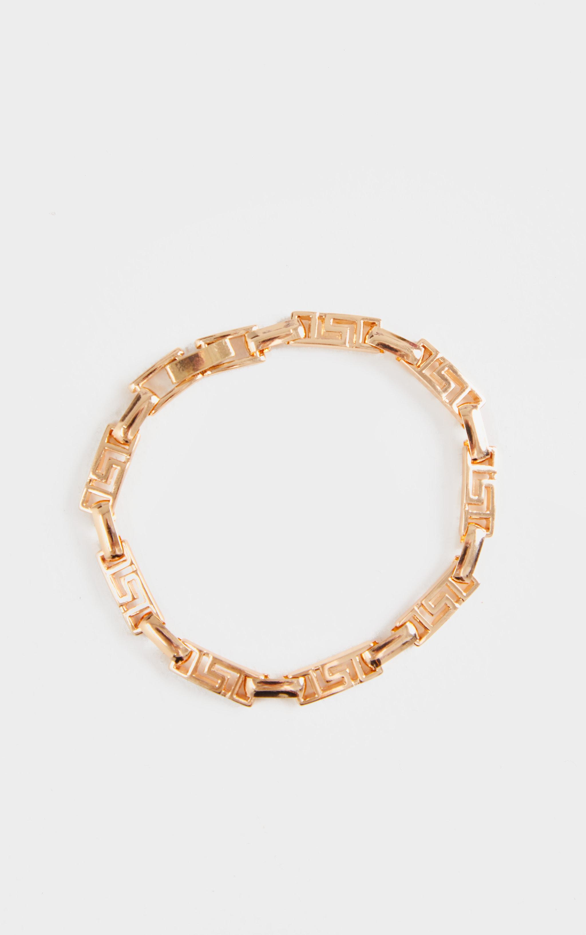 Gold Greek Key Link Bracelet 2