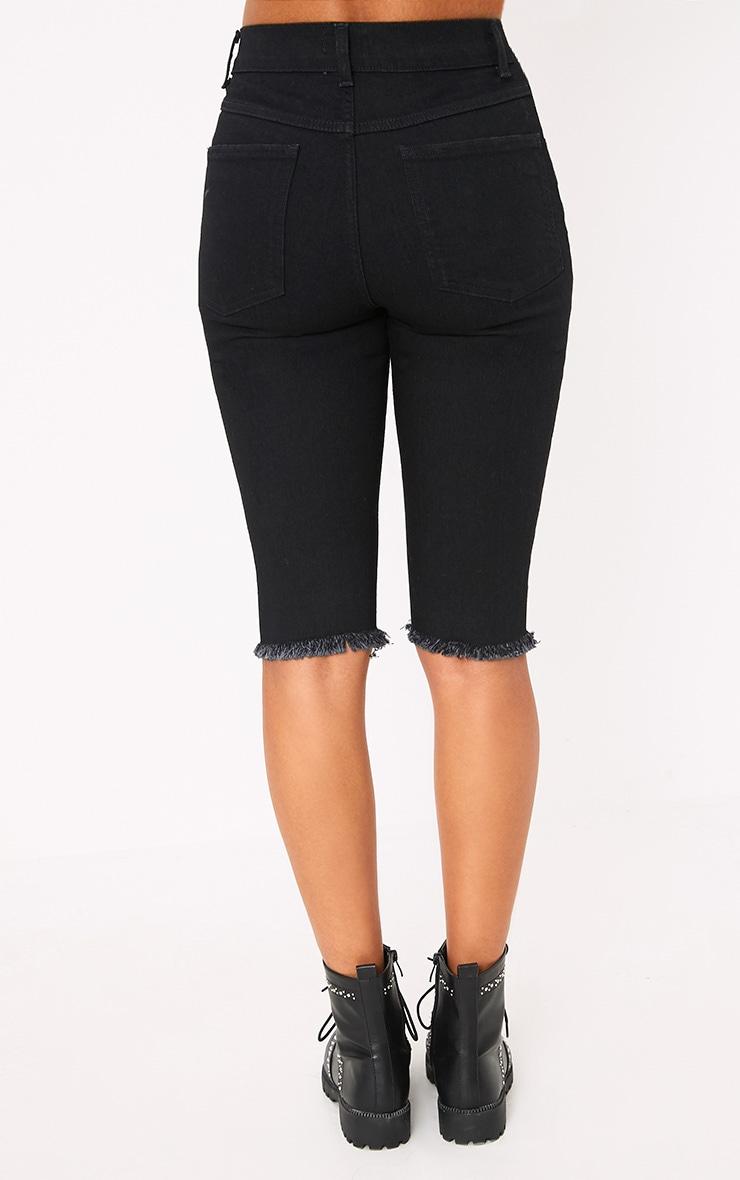 Hema Black 3/4 length Skinny Fit Distress Short 4