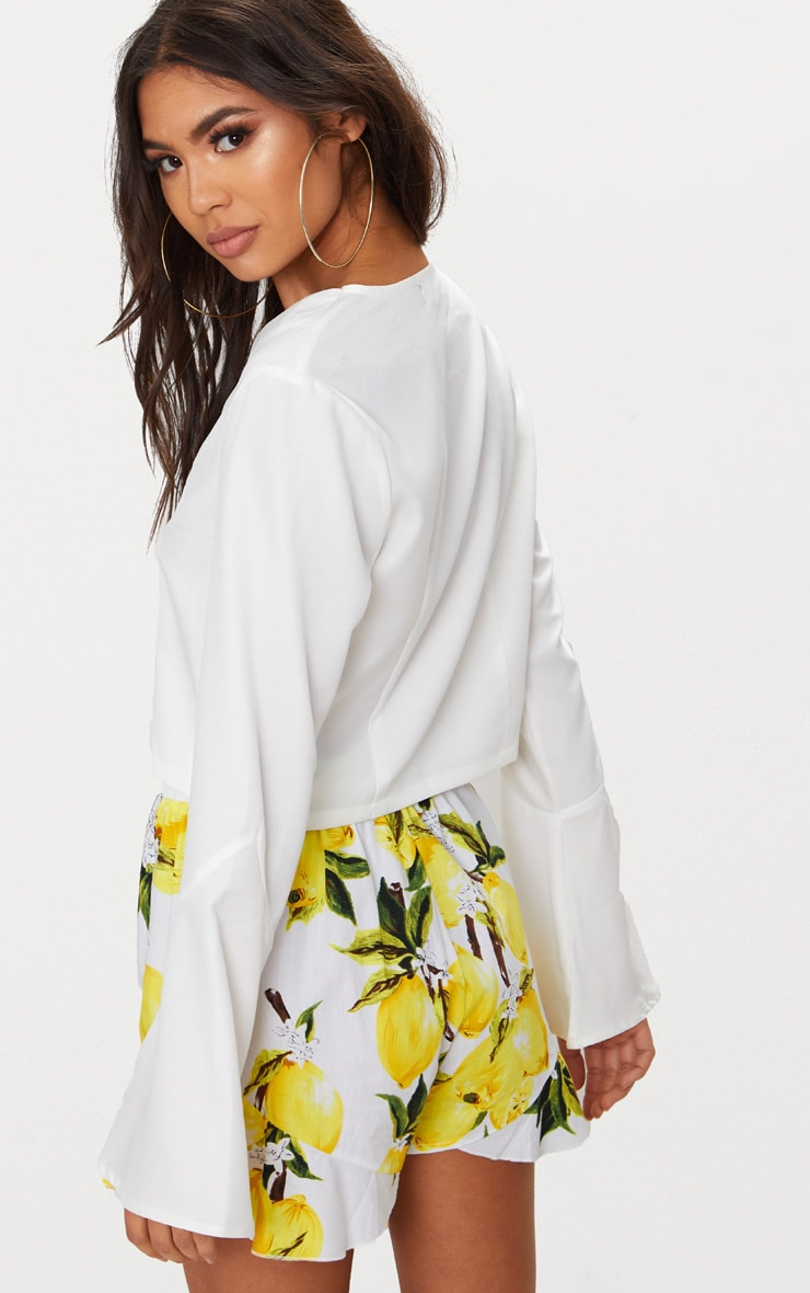 White Tie Front Flute Sleeve Blouse 2
