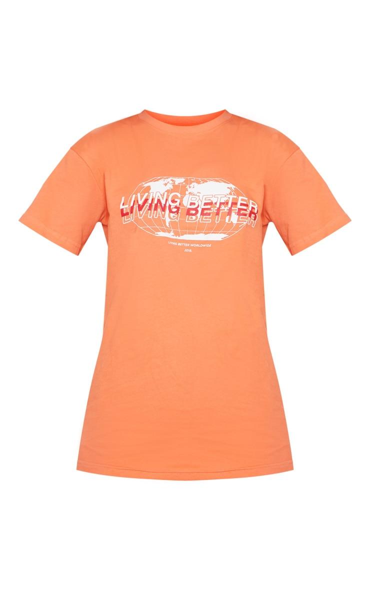 Neon Orange Living Better Print T shirt 3
