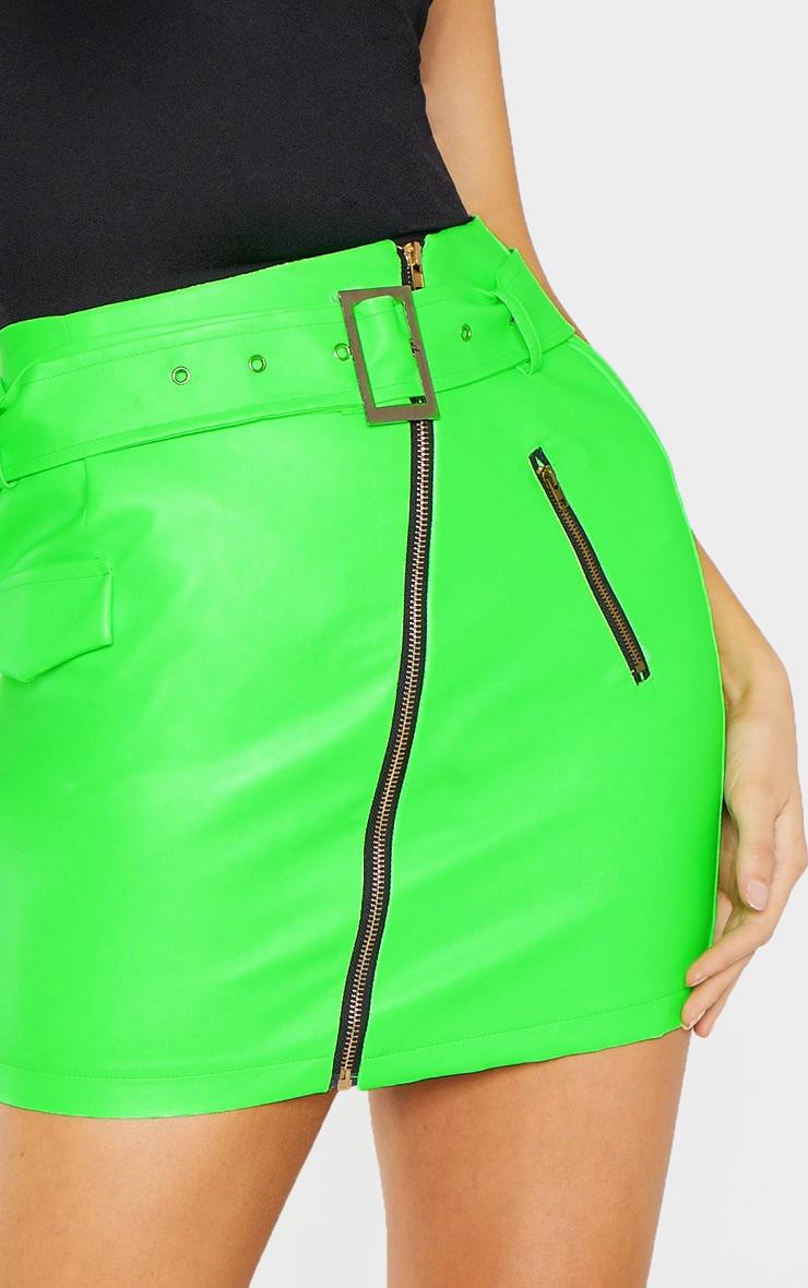 Tall Neon Green Belt Detail Pu Mini Skirt 6