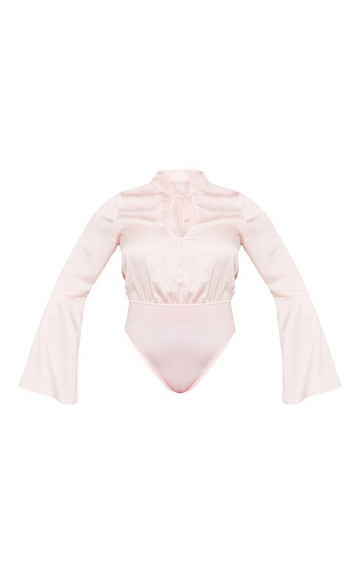 PLT Plus - Body satiné rose tendre à découpe et lien 5