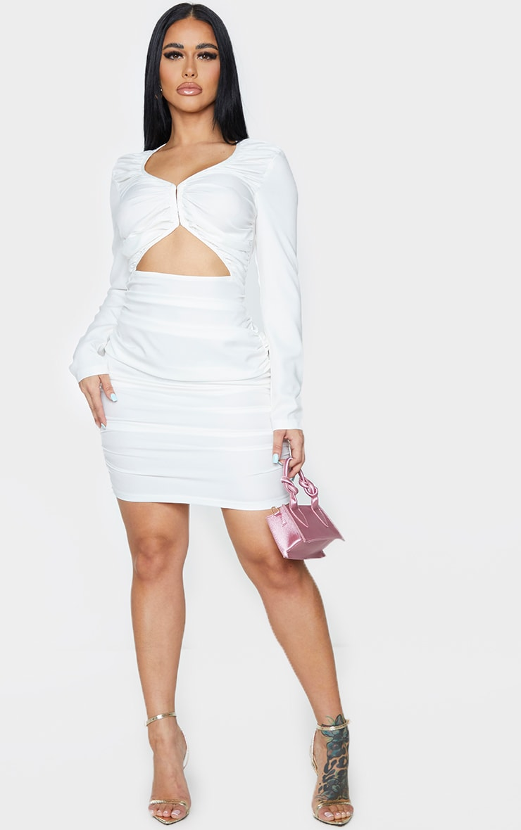 Shape White Extreme Ruched Hook And Eye Cut Out Bodycon Dress 3