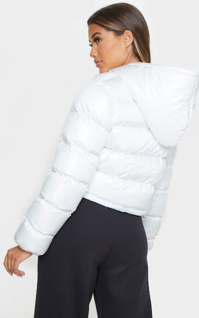 White Crop Toggle Detail Puffer