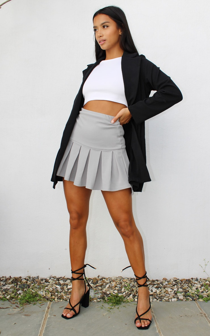 Petite Grey Pleated Step Hem Mini Skirt