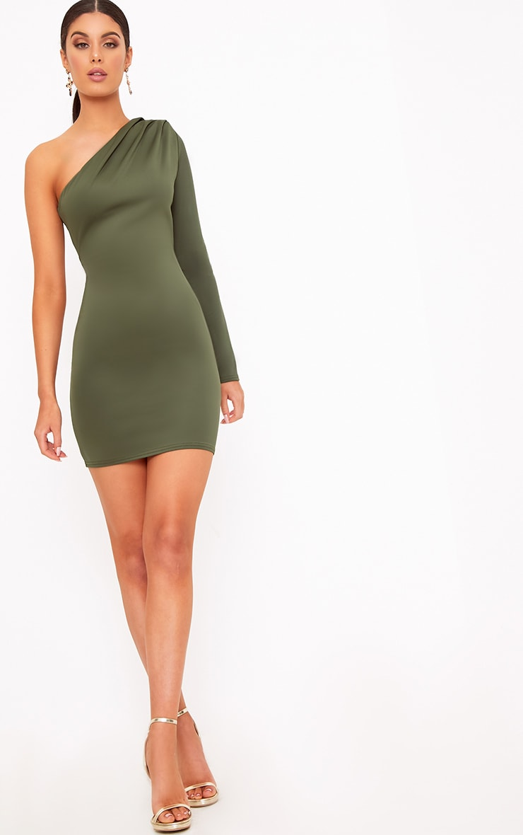 Khaki One Shoulder Ruched Bodycon Dress 4