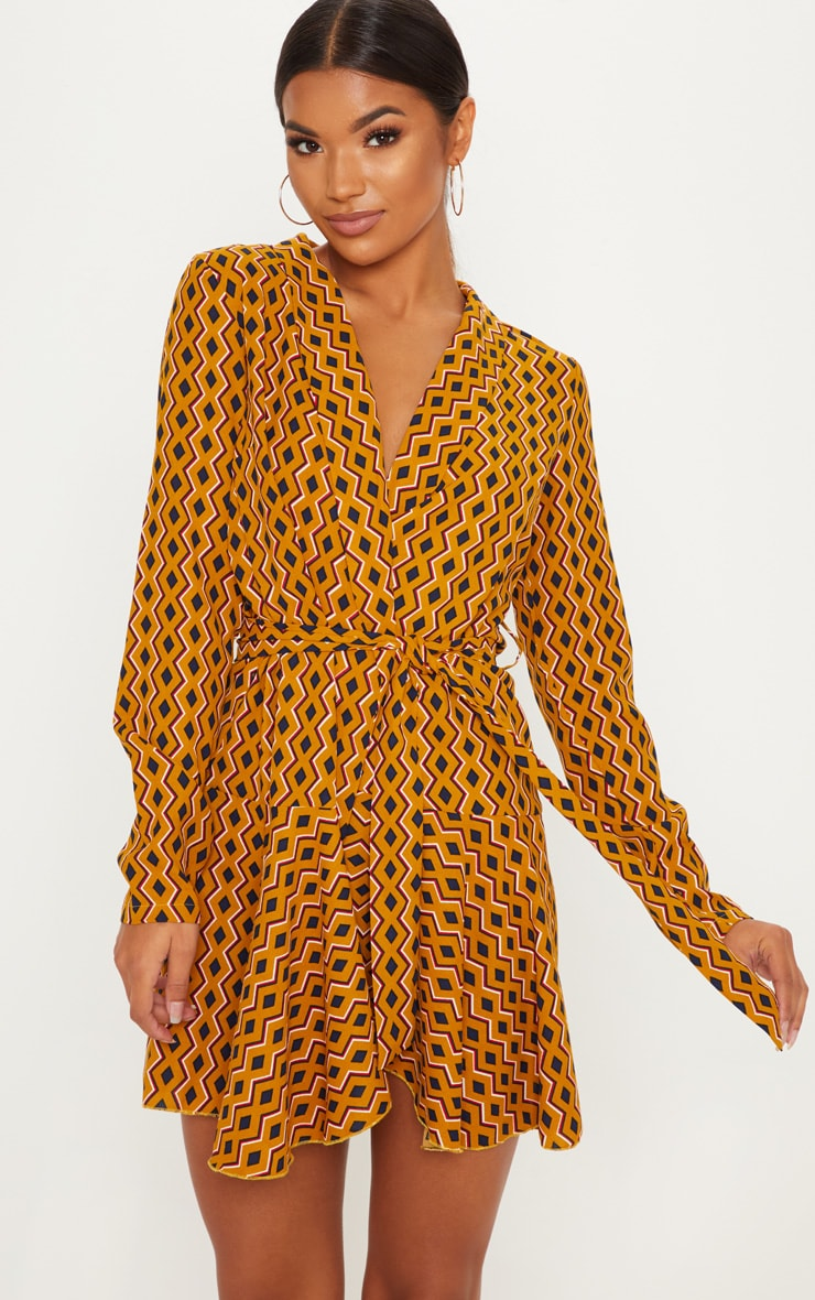 Mustard Geometric Print Wrap Skater Dress 1