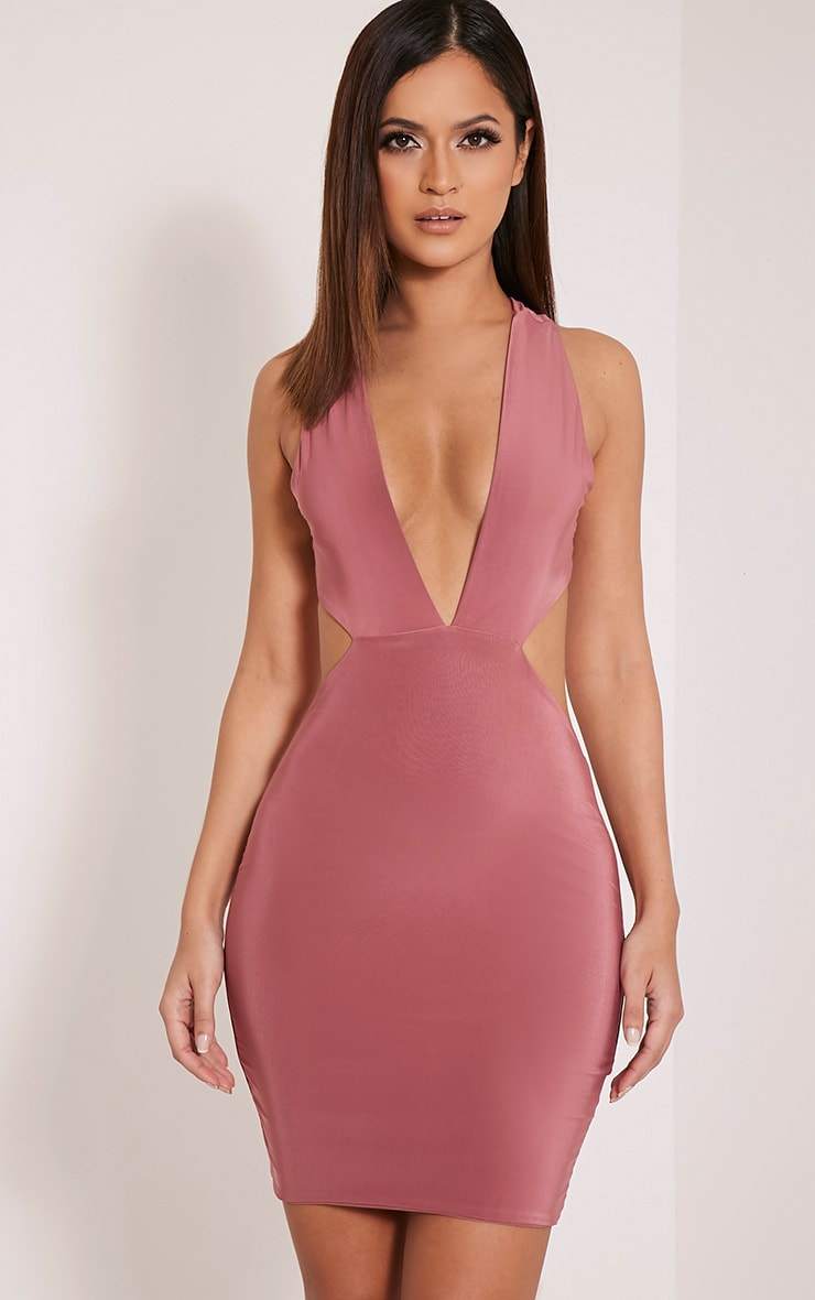 Biddy Rose Deep V Plunge Bodycon Dress 1