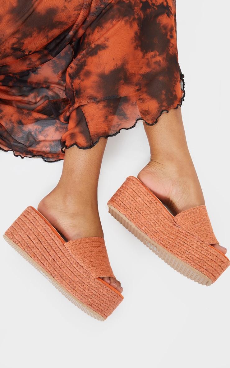 Orange Espadrille Flatform Sandals 1