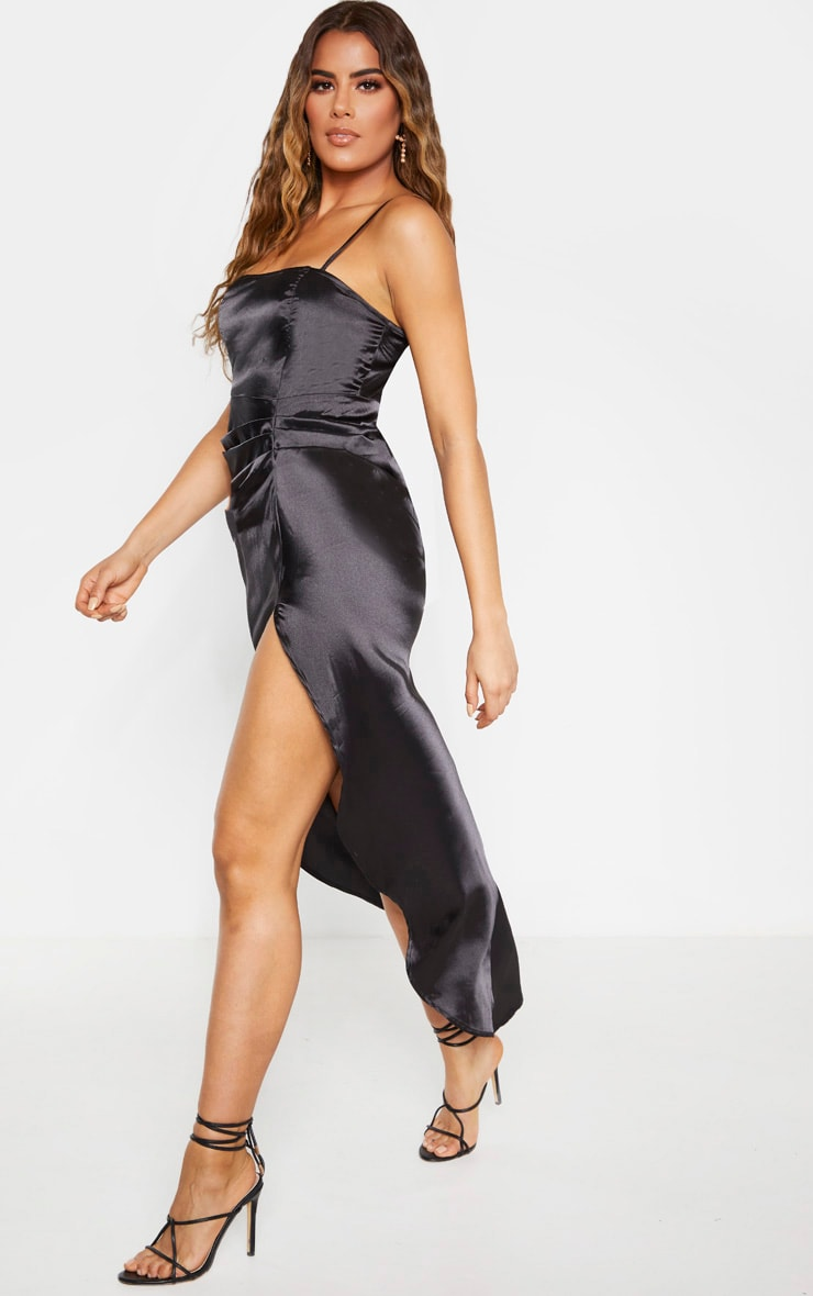 Tall Black Ruched Side High Split Satin Midi Dress  3