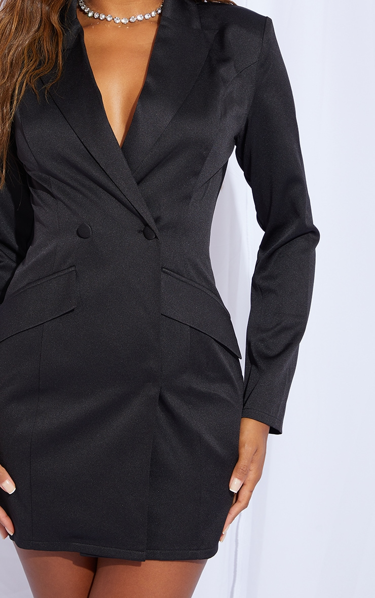 Black Long Sleeve Pinched Waist Button Detail Blazer Dress 4