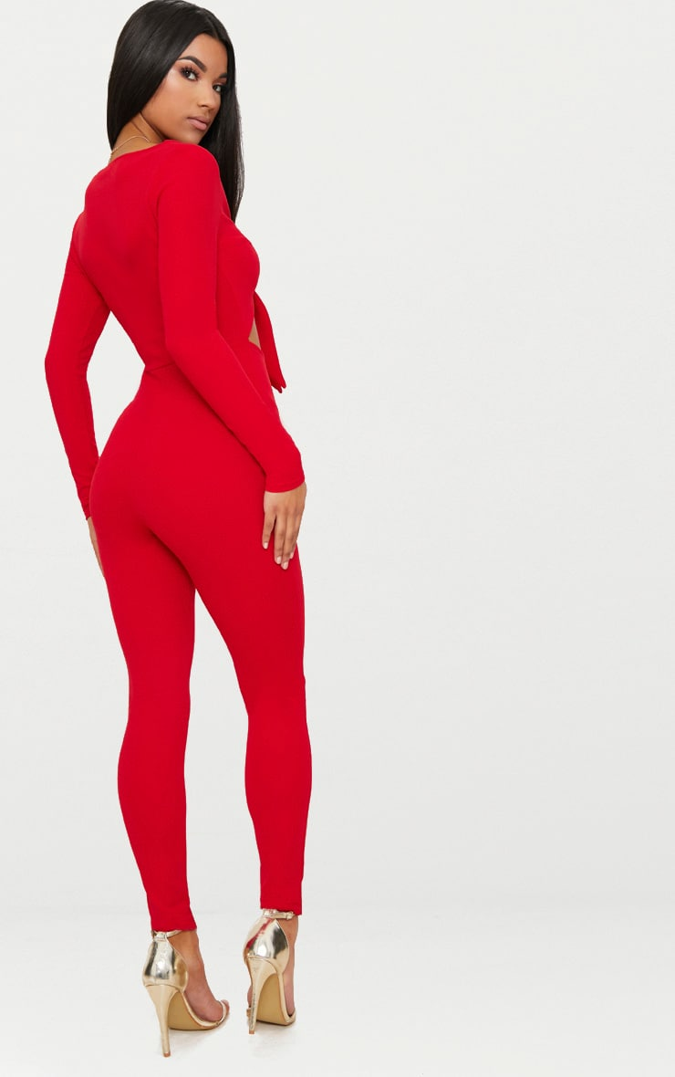 Red Tie Front Long Sleeve Jumpsuit 2