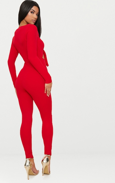 Red Tie Front Long Sleeve Jumpsuit