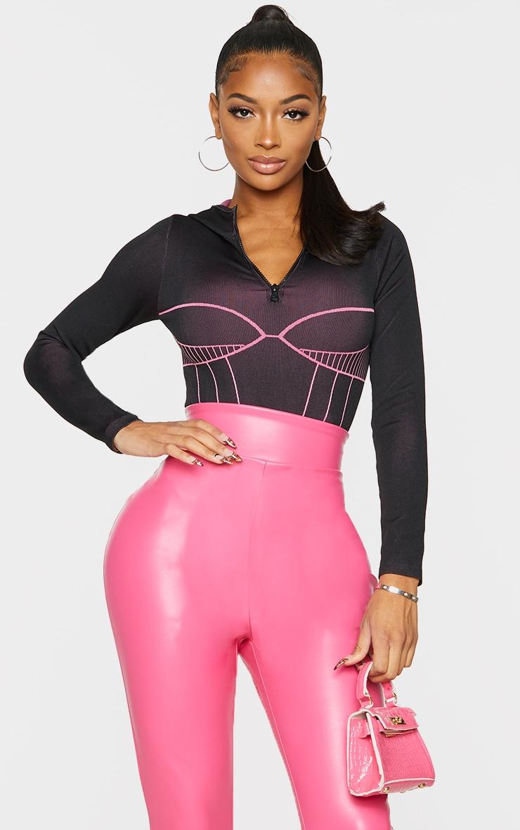 Shape Black Seamless Contrast Detail Zip Bodysuit 1