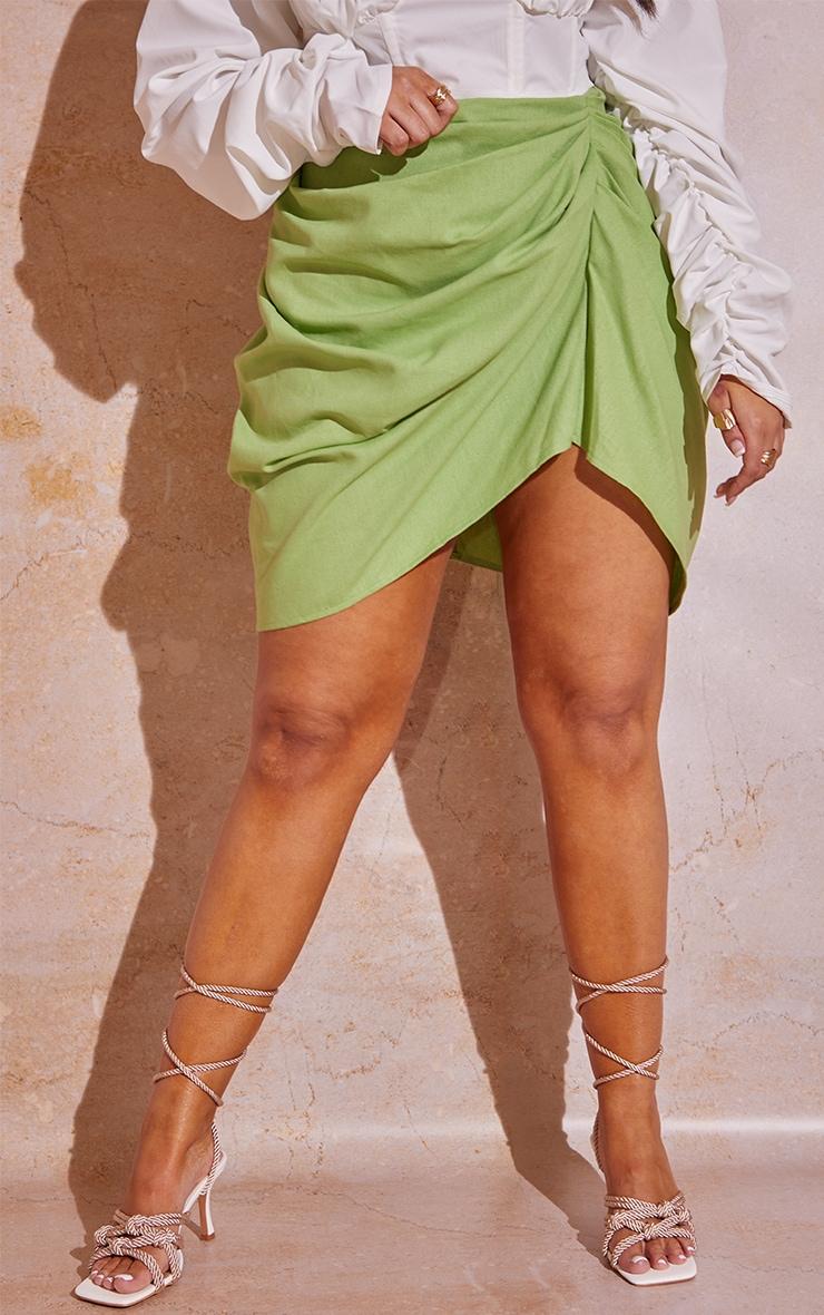 Plus Sage Green Gathered Mini Skirt  2