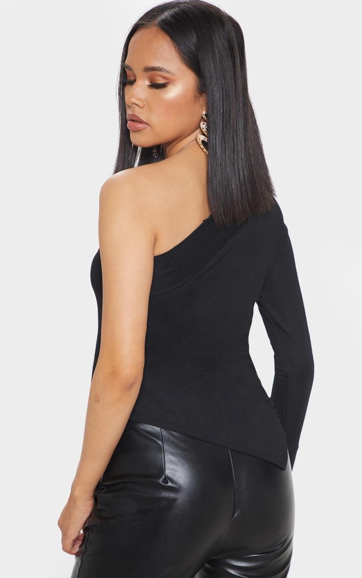 Black Woven One Shoulder Asymmetric Hem Top 2
