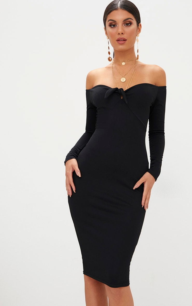 Black Bardot Tie Front Midi Dress 1