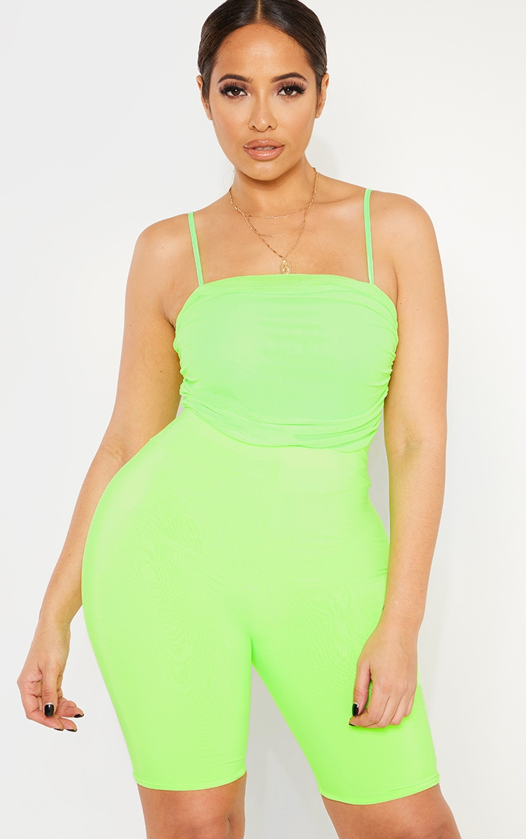 Shape Neon Lime Mesh Ruched Thong Bodysuit 1