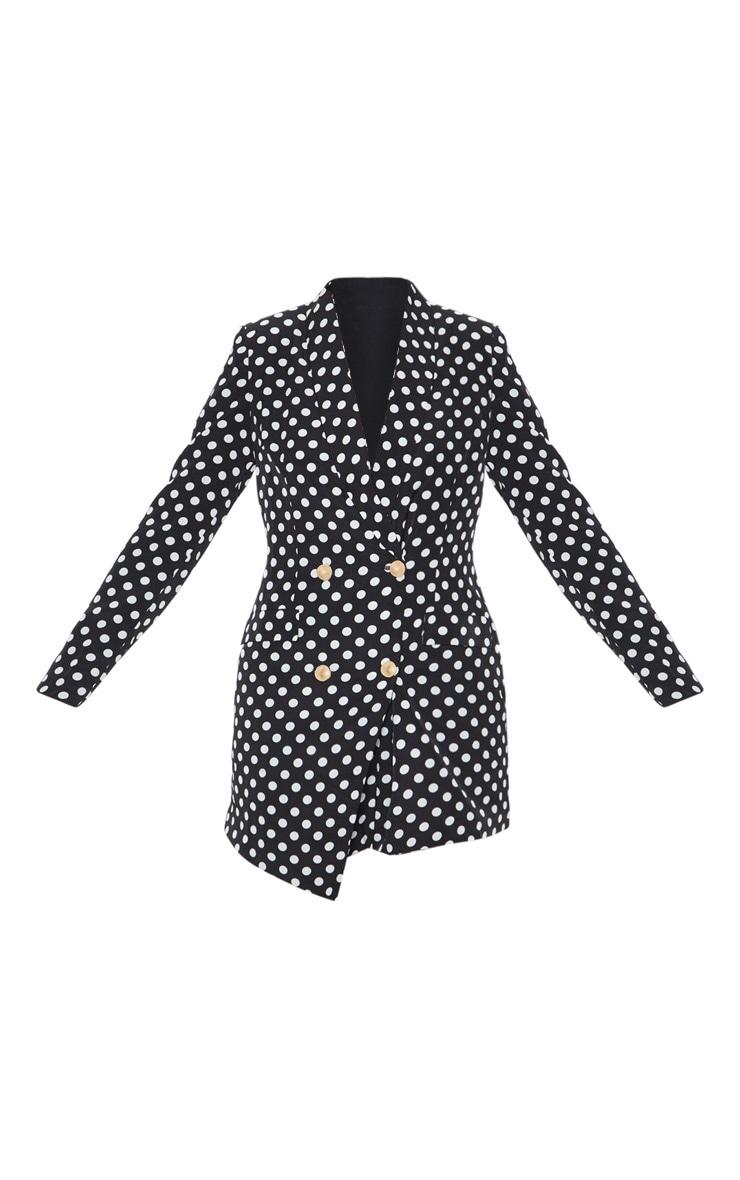 Black Polka Dot Gold Button Blazer Dress 3
