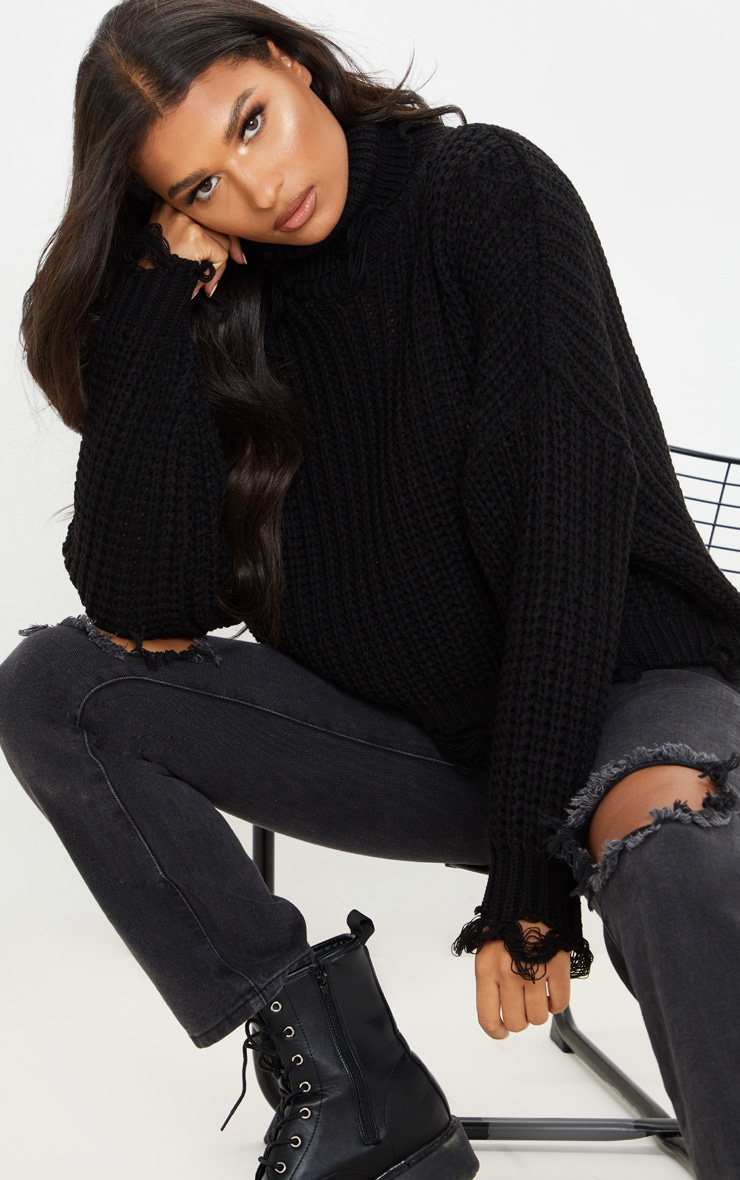 Black Distressed Detail Roll Neck Sweater 1