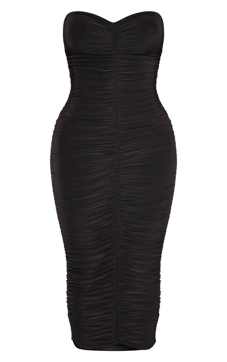 فستان أسود على شكل باندو مكشكش من شيب 1