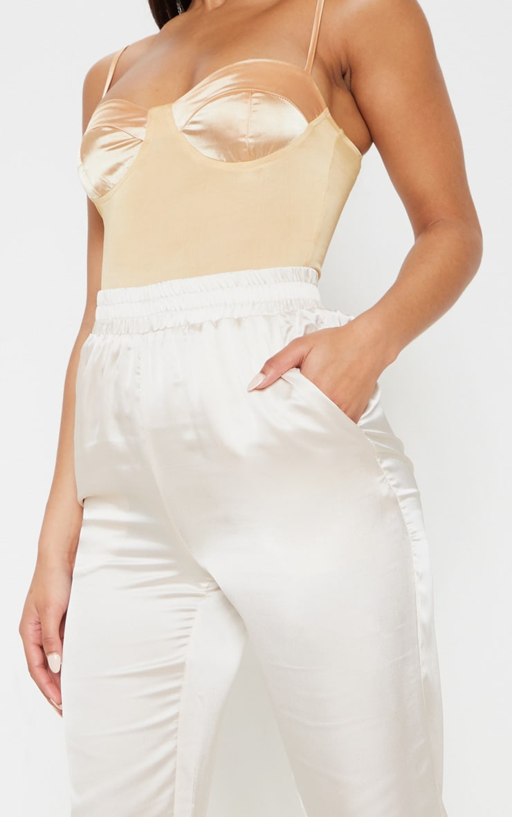 Cream Satin Cigarette Casual Pants 5