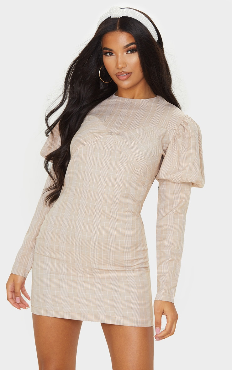 Beige Check Long Sleeve Puff Shoulder Bodycon Dress 1