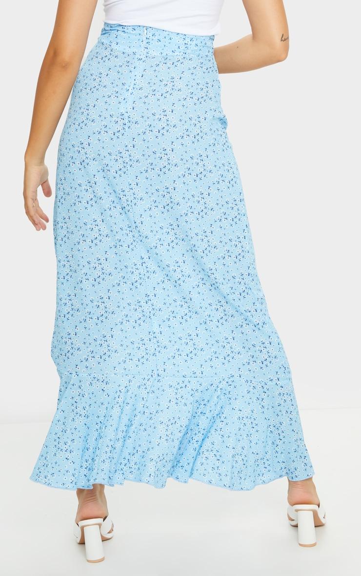 Blue Floral Frill Hem Wrap Maxi Skirt 3