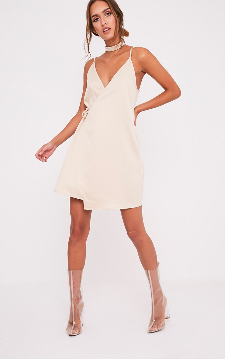 Priah Champagne Choker Neck Wrap Over Cami Dress 5