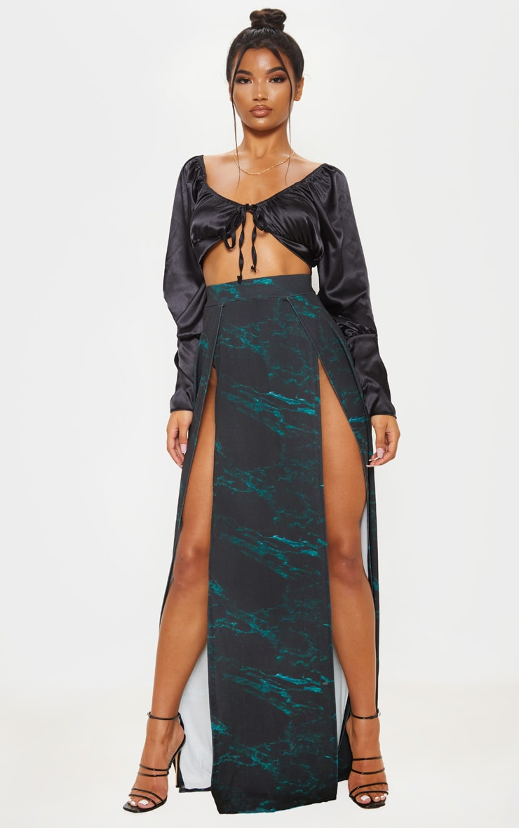 Teal Marble Print Double Split Maxi Skirt  1