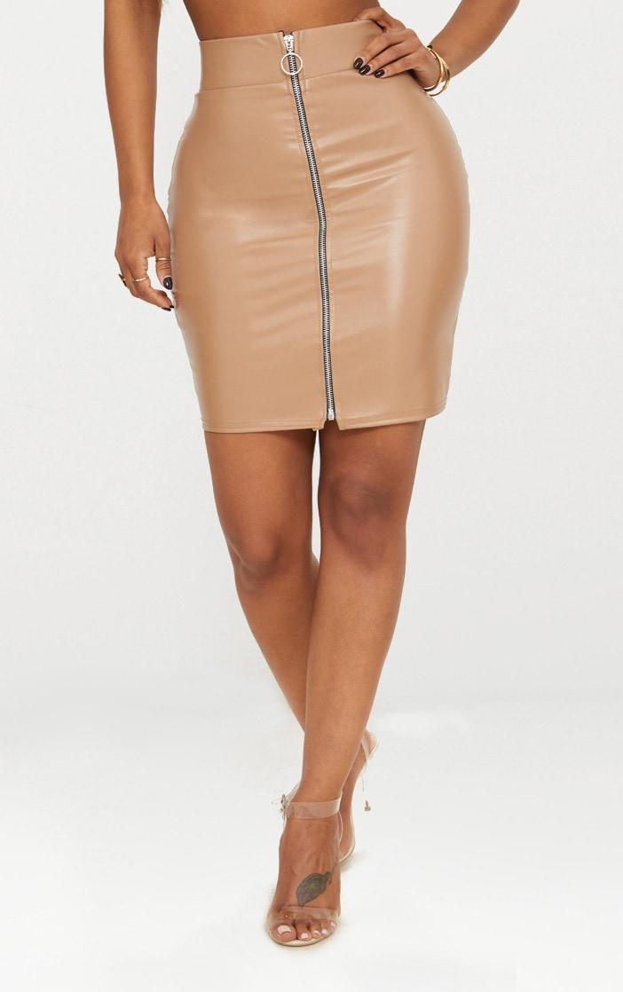 Shape Stone Zip Front PU Mini Skirt 2