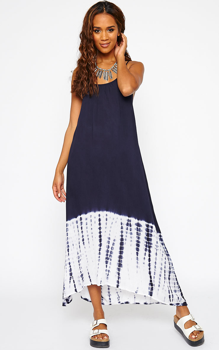 Janae Blue Tie Dye Hem Maxi Dress 3