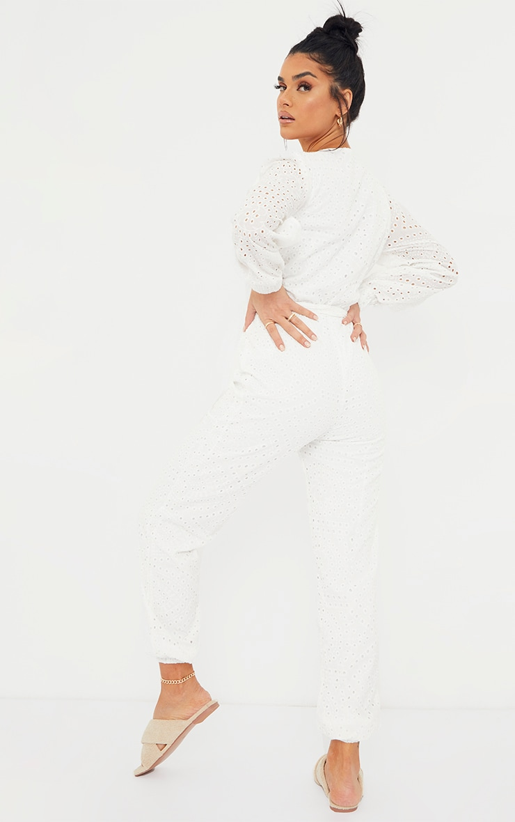 White Broderie Anglaise Wrap Tie Waist Jumpsuit 2