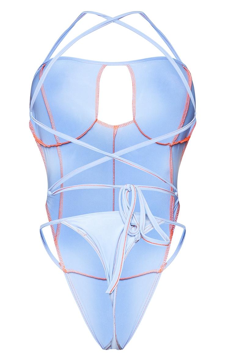 Shape - Body slinky bleu à coutures surjetées et dos lacé 6