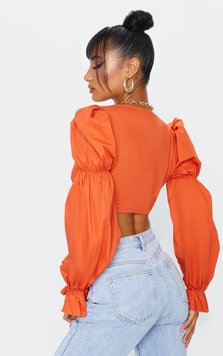 Rust Woven Ruched Cup Puff Long Sleeve Crop Top 2