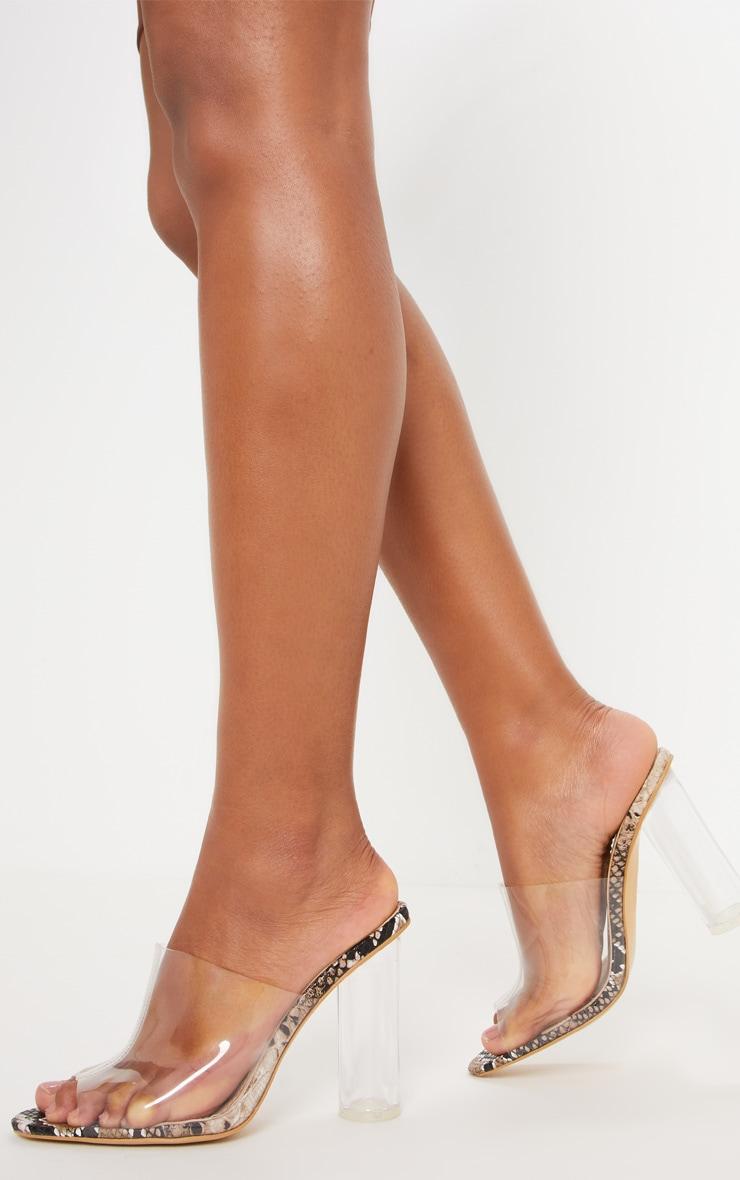 Snake Print Block Heel Mule Sandal  by Prettylittlething