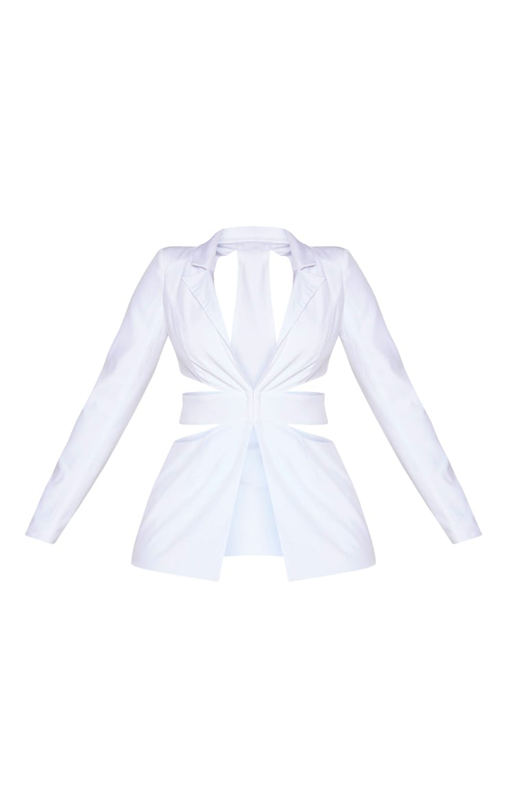 White Structured Cut Out Blazer 5