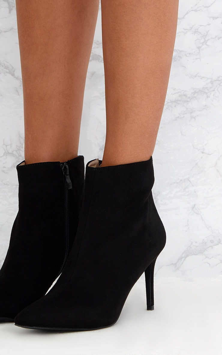 Black Mid Heel Pointed Ankle Boots 5