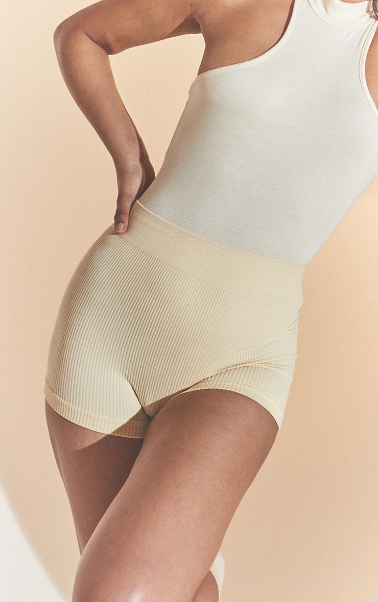Cream Structured Contour Rib Hot Pants 5