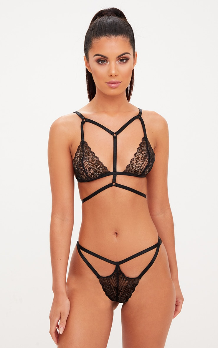 Black Harness Hoop Detail Lingerie Set 1