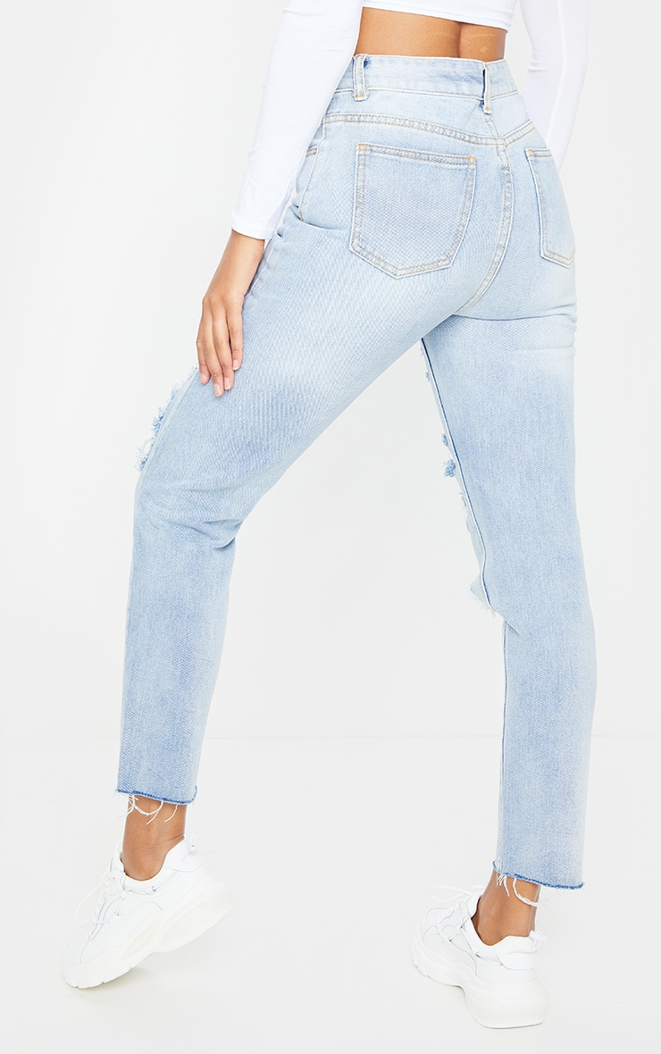 Light Wash Extreme Distressed Mom Jean 3