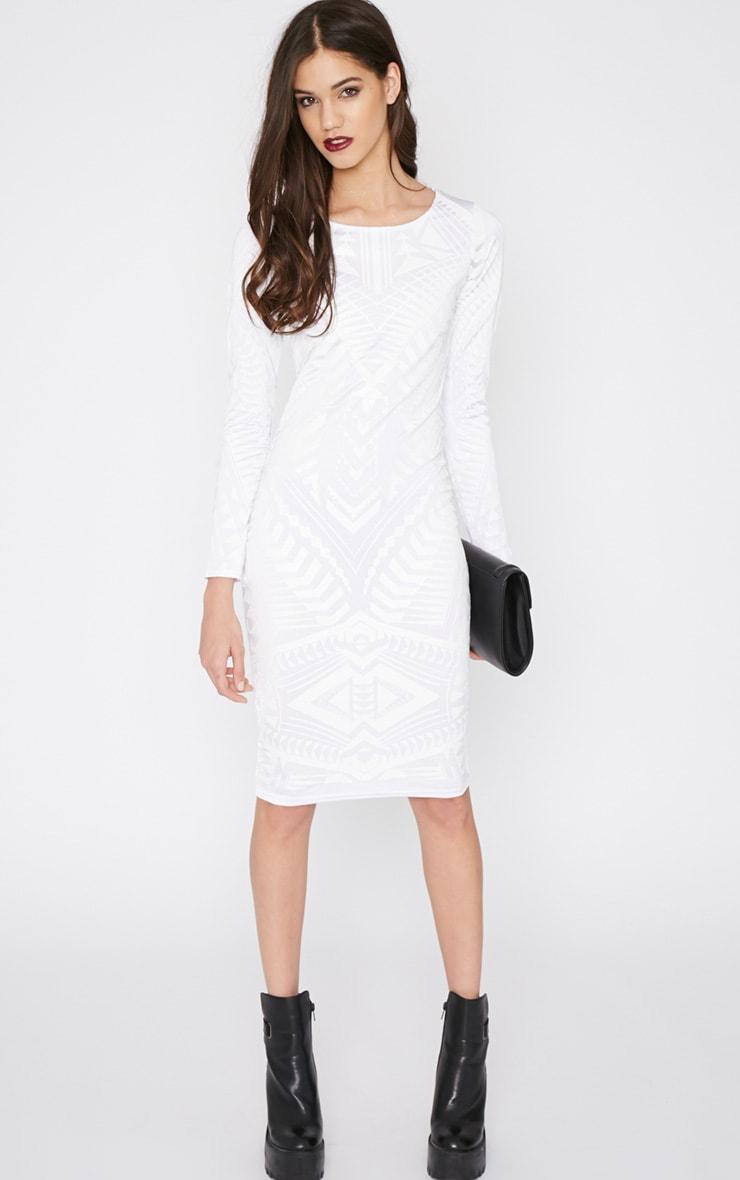 Elodie White Aztec Glitter Print Midi Dress 4