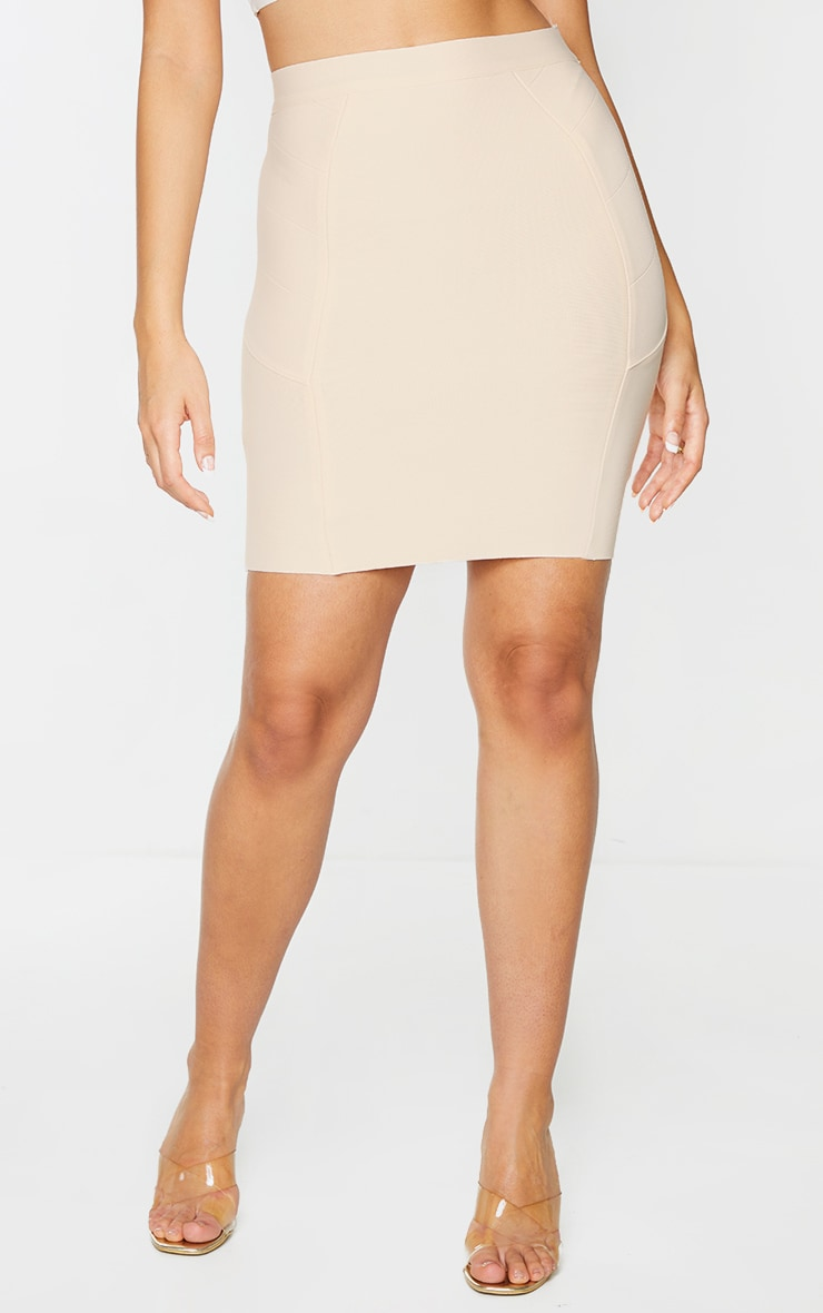 Nude Structured Bandage Panel Detail Mini Skirt 2