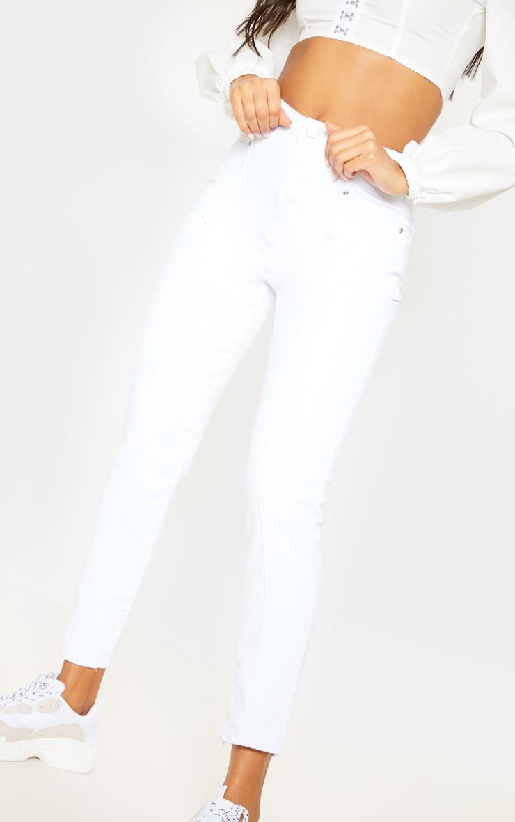 White Front Seam Mom Jean 5