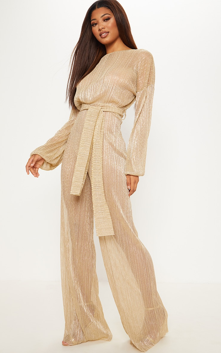 Tall Gold Metallic Sheer Pleated Tie Waist Jumpsuit 4
