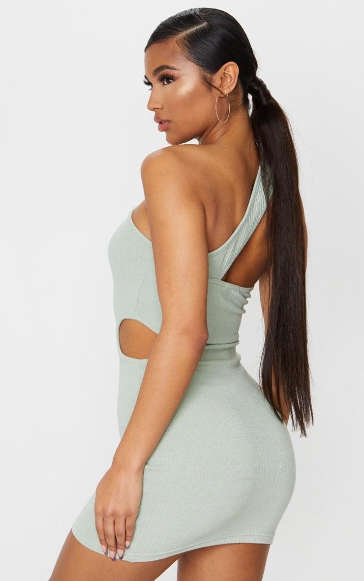 Sage Green Rib One Shoulder Cut Out Detail Bodycon Dress 2